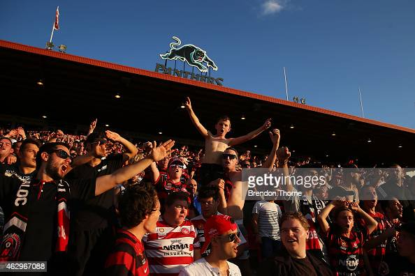 Wanderers fans celebrate following the round 16 ALeague match between the Western Sydney Wanderers and the Wellington Phoenix at Sportingbet Stadium...