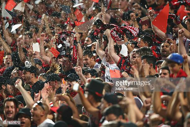 Wanderers fans cheer ahead of kickoff during the Asian Champions League final match between the Western Sydney Wanderers and Al Hilal at Pirtek...