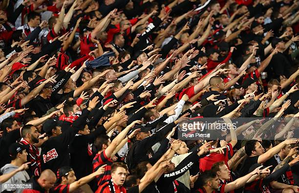 Wanderers fans cheer during the round one ALeague match between the Western Sydney Wanderers and Sydney FC at ANZ Stadium on October 8 2016 in Sydney...