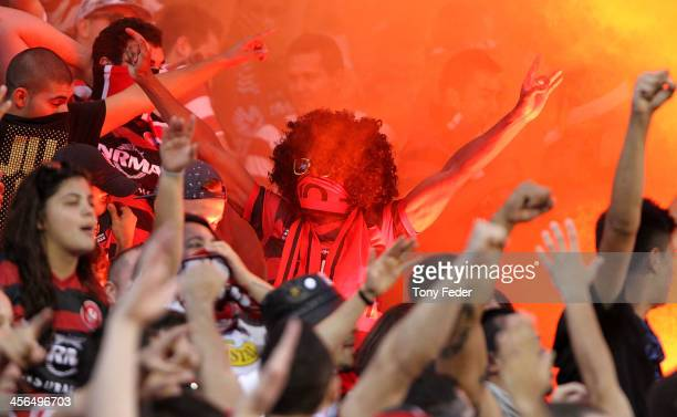 Wanderers fans during the round 10 ALeague match between the Newcastle Jets and the Western Sydney Wanderers at Hunter Stadium on December 14 2013 in...