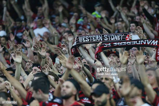 Wanderers fans during the round 20 ALeague match between Sydney FC and the Western Sydney Wanderers at Allianz Stadium on February 20 2016 in Sydney...