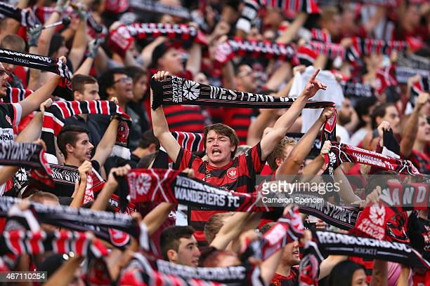Wanderers fans show their colours during the round 22 ALeague match between the Western Sydney Wanderers and the Newcastle Jets at Pirtek Stadium on...