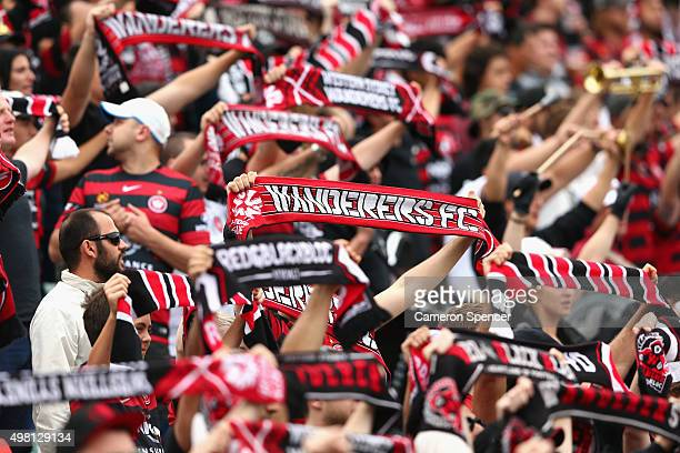 Wanderers fans show their colours during the round seven ALeague match between Western Sydney Wanderers and Wellington Phoenix at Pirtek Stadium on...