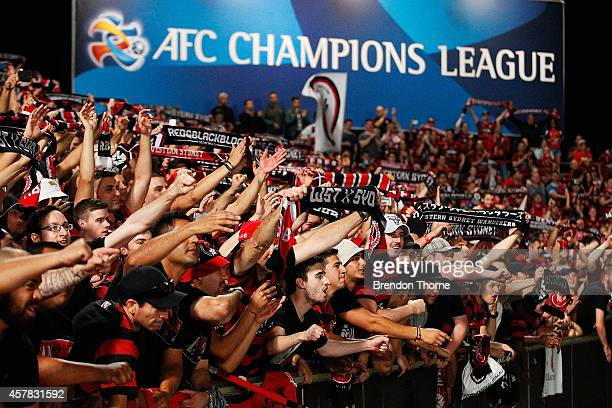 Wanderers fans show their colours following victory in the Asian Champions League final match between the Western Sydney Wanderers and Al Hilal at...