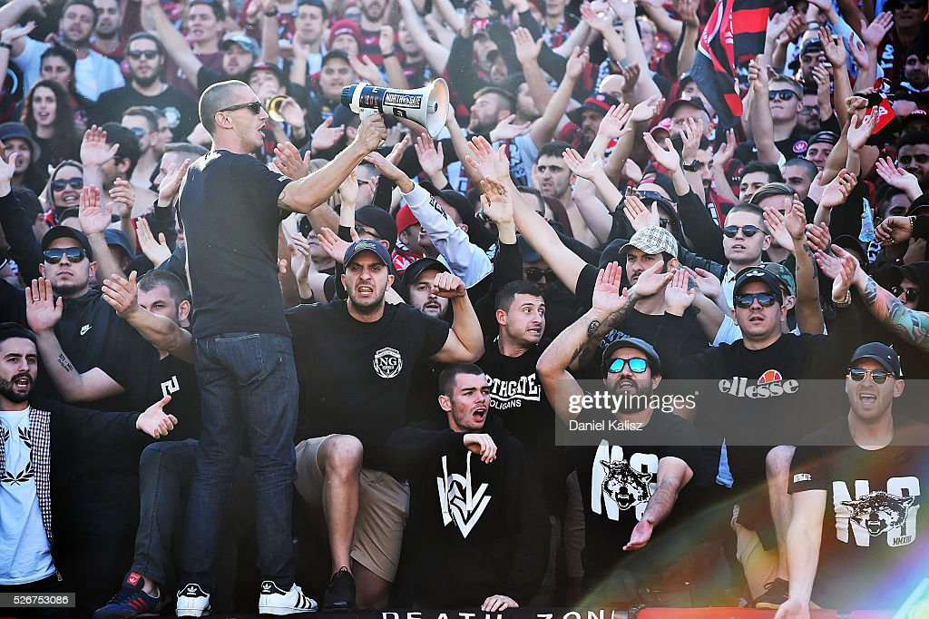 Wanderers fans show their support during the 2015/16 A-League Grand Final match between Adelaide United and the Western Sydney Wanderers at Adelaide Oval on May 1, 2016 in Adelaide, Australia.