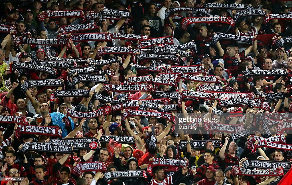 Wanderers fans show their support during the round 23 A-League match between the Central Coast Mariners and the Western Sydney Wanderers at Bluetongue Stadium on March 2, 2013 in Gosford, Australia.