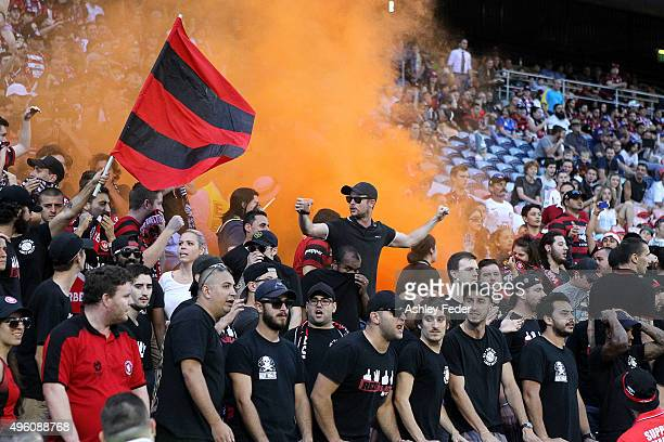 Wanderers fans show their support during the round five ALeague match between the Newcastle Jets and the Western Sydney Wanderers at Hunter Stadium...