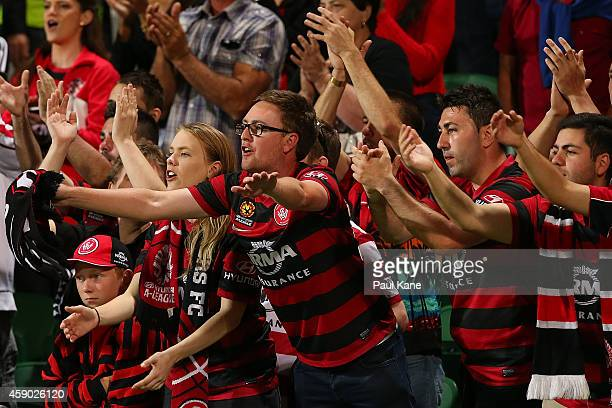 Wanderers fans show their support during the round six ALeague match between the Perth Glory and Western Sydney Wanderers at nib Stadium on November...