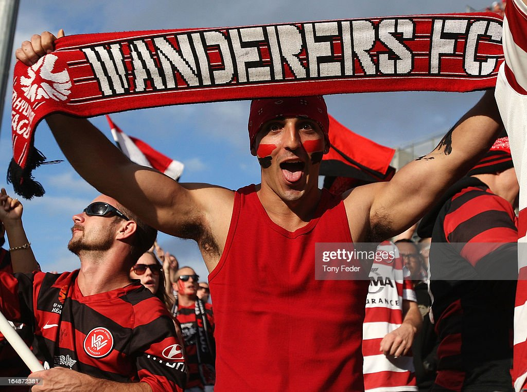 Wanderers fans show their support pre-game during the round 27 A-League match between the Newcastle Jets and Western Sydney at Hunter Stadium on March 29, 2013 in Newcastle, Australia.