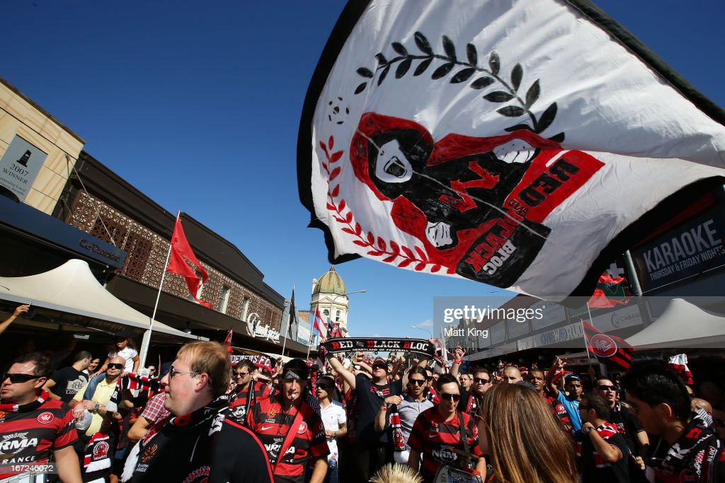 Wanderers fans shows their support during a Western Sydney Wanderers A-League Civic Reception on April 23, 2013 in Parramatta, Australia.