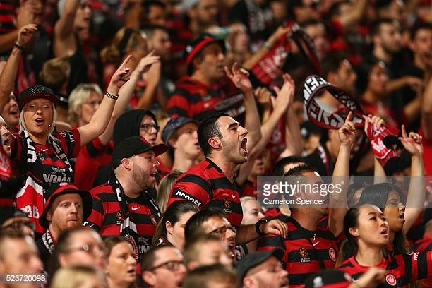 Wanderers fans sing during the ALeague Semi Final match between the Western Sydney Wanderers and the Brisbane Roar at Pirtek Stadium on April 24 2016...