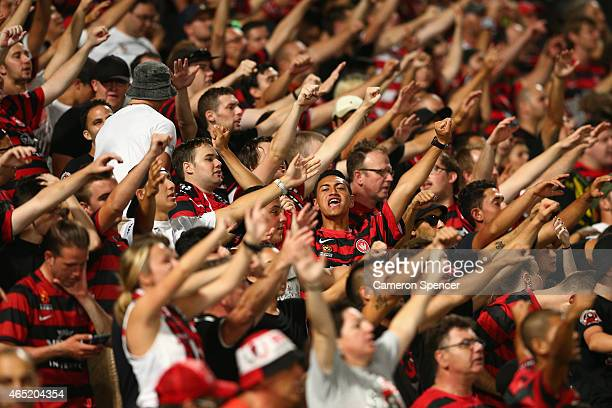 Wanderers fans sing during the Asian Champions League match between the Western Sydney Wanderers and Guangzhou Evergrande at Parramatta Stadium on...