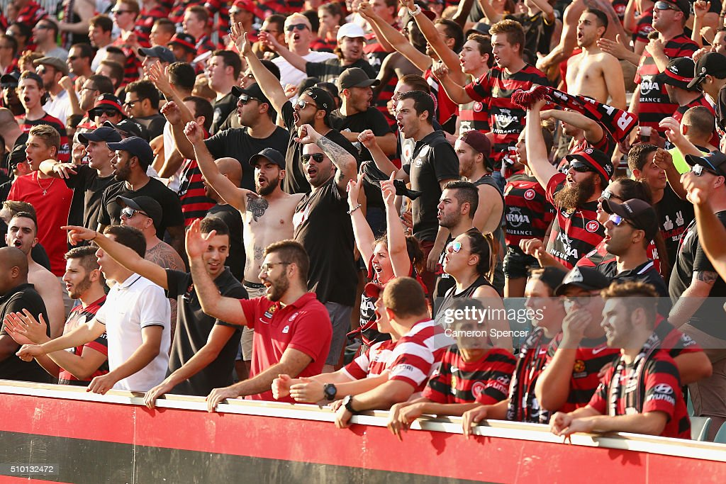 Wanderers fans sing during the round 19 A-League match between the Western Sydney Wanderers and the Wellington Phoenix at Pirtek Stadium on February 14, 2016 in Sydney, Australia.