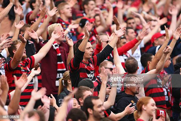 Wanderers fans sing during the round 22 ALeague match between the Western Sydney Wanderers and the Newcastle Jets at Pirtek Stadium on March 21 2015...