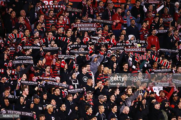 Wanderers fans support during the FFA Cup match between Western Sydney Wanderers and Brisbane Roar at Pepper Stadium on August 11 2015 in Sydney...