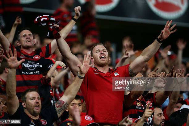 Wanderers fans support their team during the round 19 ALeague match between the Western Sydney Wanderers and Sydney FC at Pirtek Stadium on February...
