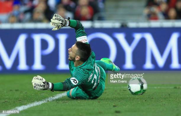Wanderers goalkeeper Vedran Janjetovic lets a goal in from Mohamed Elneny of Arsenal during the match between the Western Sydney Wanderers and...