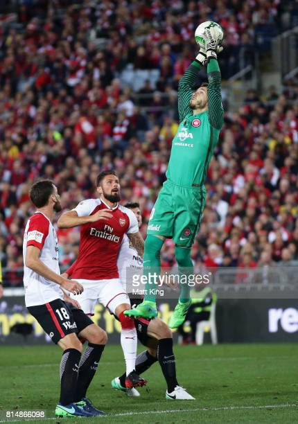 Wanderers goalkeeper Vedran Janjetovic takes the ball during the match between the Western Sydney Wanderers and Arsenal FC at ANZ Stadium on July 15...