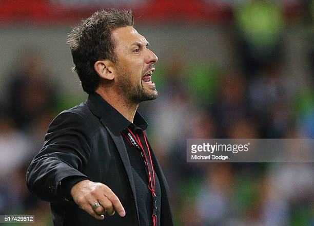 Wanderers head coach Tony Popovic reacts during the round 25 ALeague match between the Melbourne Victory and the Western Sydney Wanderers at AAMI...