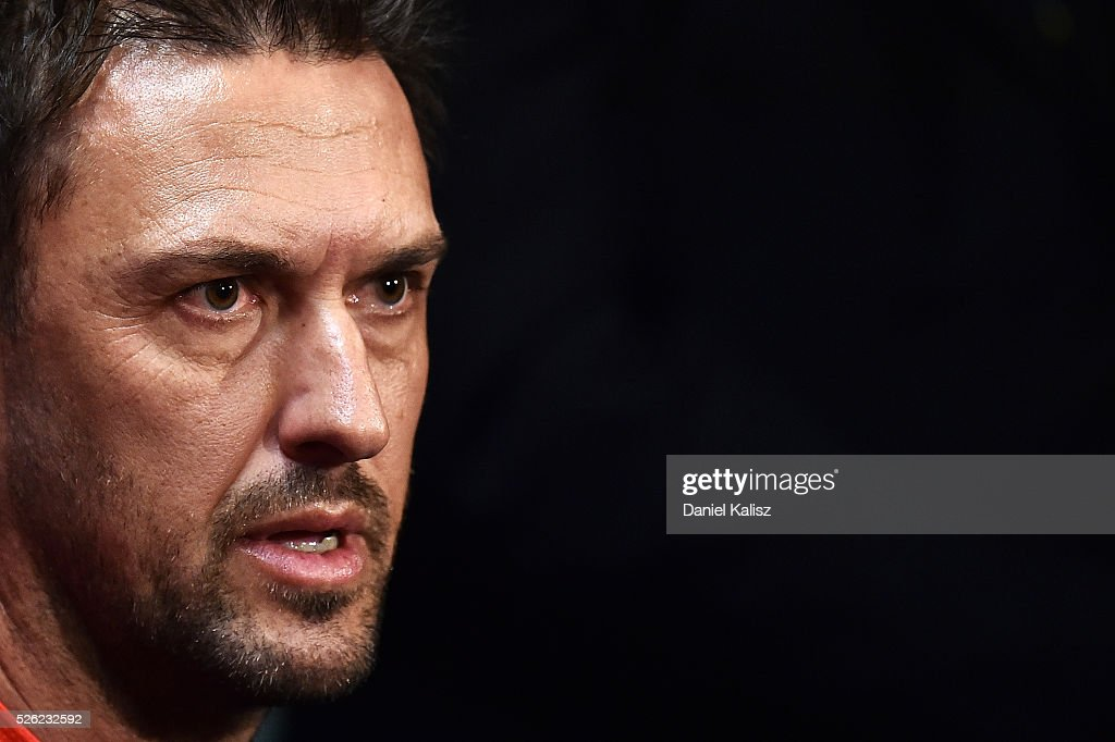 Wanderers head coach Tony Popovic speaks to the media during the A-League Grand Final press conference at Coopers Stadium on April 30, 2016 in Adelaide, Australia.