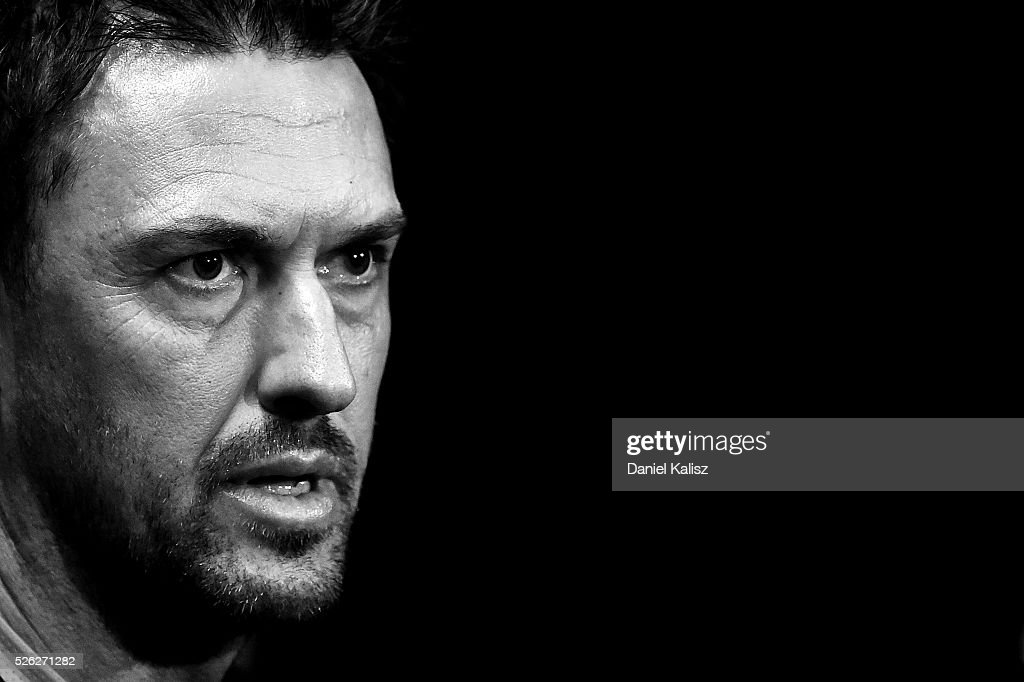 Wanderers head coach <a gi-track='captionPersonalityLinkClicked' href=/galleries/search?phrase=Tony+Popovic&family=editorial&specificpeople=213704 ng-click='$event.stopPropagation()'>Tony Popovic</a> speaks to the media during the A-League Grand Final press conference at Coopers Stadium on April 30, 2016 in Adelaide, Australia.