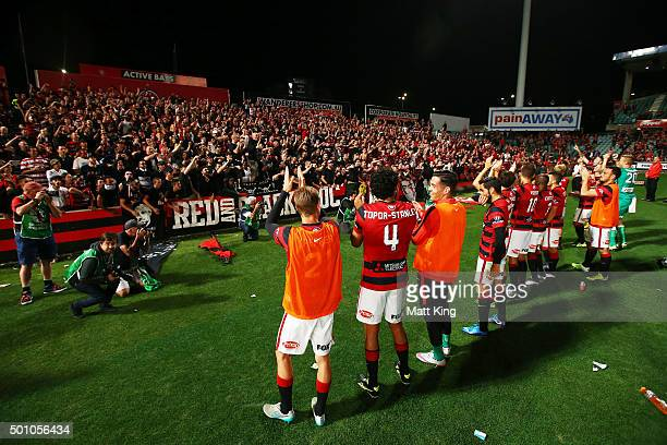 Wanderers players acknowledge the fans after the round 10 ALeague match between the Western Sydney Wanderers and Melbourne Victory at Pirtek Stadium...