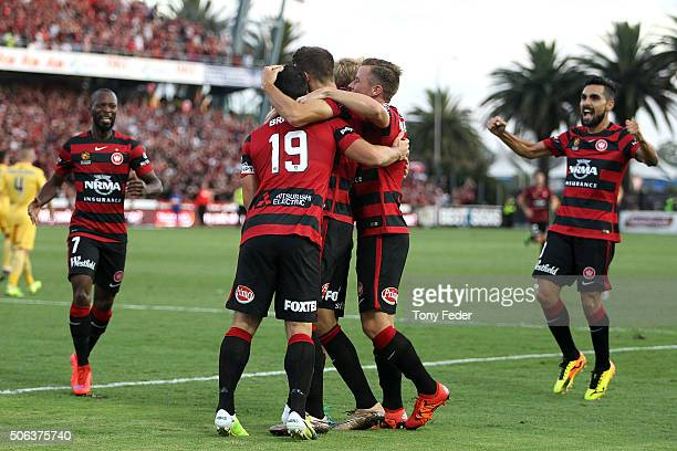 Wanderers players celebrate a goal during the round 16 ALeague match between the Central Coast Mariners and the Western Sydney Wanderers at Central...