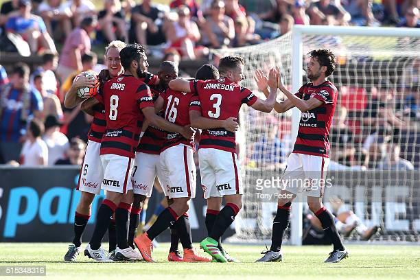 Wanderers players celebrate a goal during the round 23 ALeague match between the Newcastle Jets and the Western Sydney Wanderers at Hunter Stadium on...
