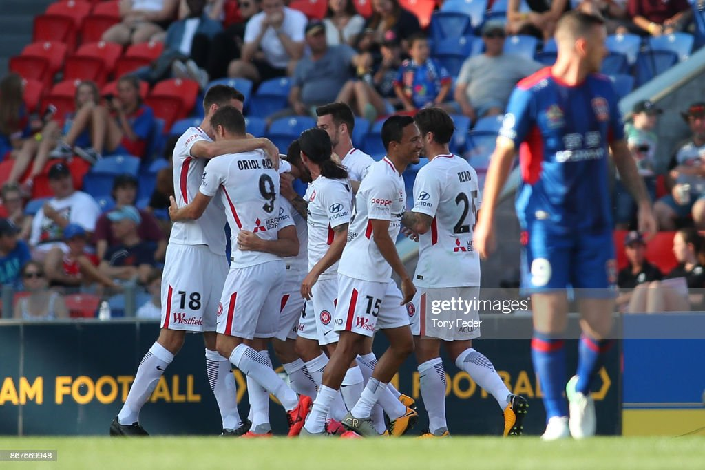 Wanderers players celebrate a goal during the round four A-League match between the Newcastle Jets and the Western Sydney Wanderers at McDonald Jones Stadium on October 29, 2017 in Newcastle, Australia.