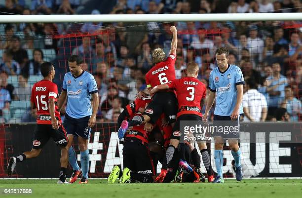 Wanderers players celebrate after Brendon Santalab of the Wanderers scored his teams first goal during the round 20 ALeague match between the Western...