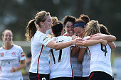 Wanderers players celebrate their second goal during the round four WLeague match between the Newcastle Jets and the Western Sydney Wanderers at...