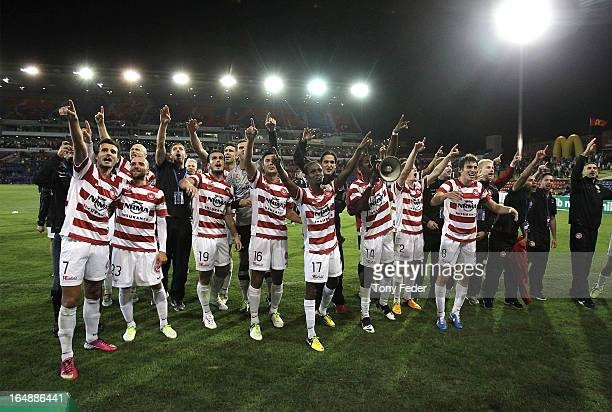 Wanderers players celebrate victory after the round 27 ALeague match between the Newcastle Jets and Western Sydney at Hunter Stadium on March 29 2013...