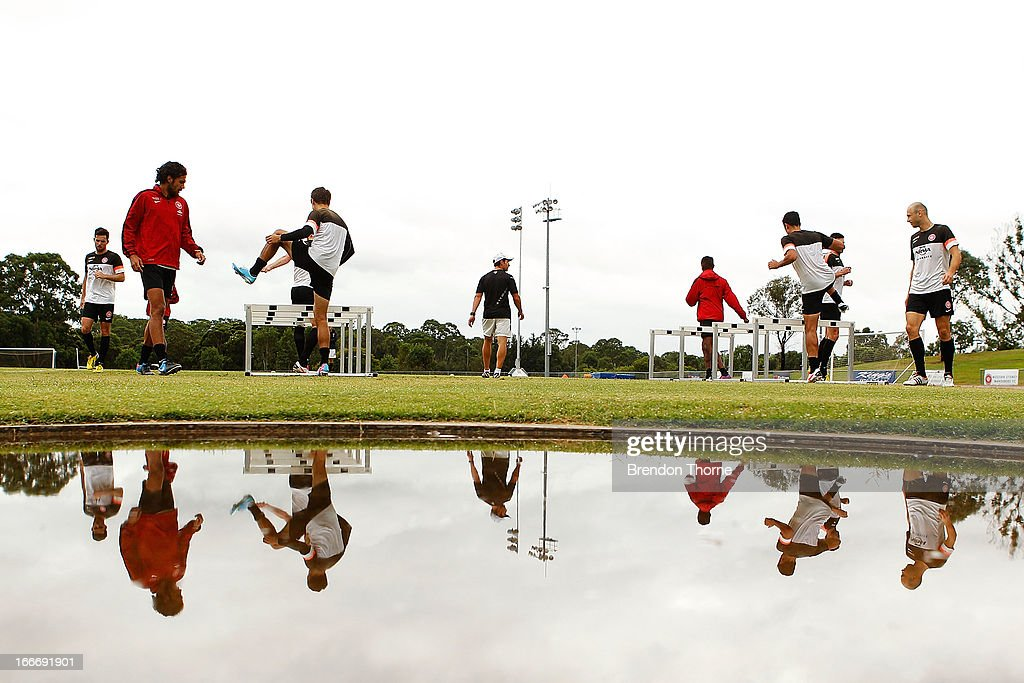Wanderers players run drills during a Western Sydney Wanderers A-League training session at Blacktown International Sportspark on April 16, 2013 in Sydney, Australia.
