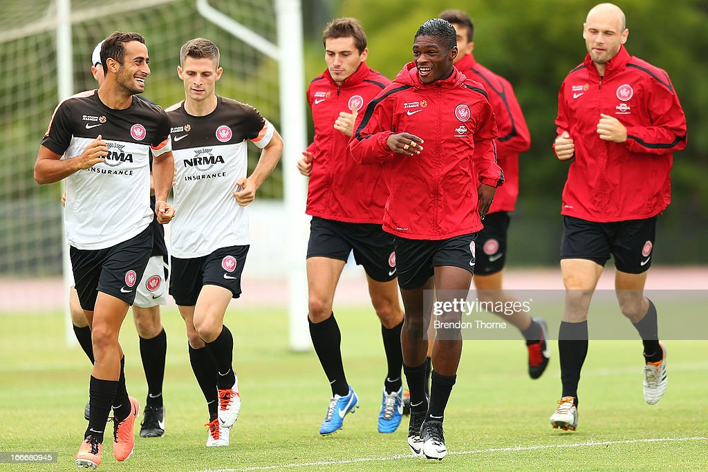 Wanderers players warm up during a Western Sydney Wanderers A-League training session at Blacktown International Sportspark on April 16, 2013 in Sydney, Australia.