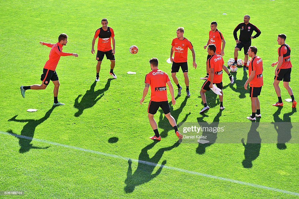 Wanderers players warm up during a Western Sydney Wanderers A-League training session at Coopers Stadium on April 30, 2016 in Adelaide, Australia.