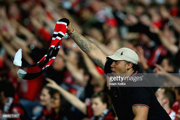 Wanderers supporter cheers during the ALeague Semi Final match between the Western Sydney Wanderers and the Central Coast Mariners at Pirtek Stadium...