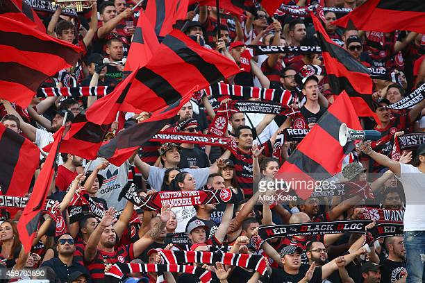 Wanderers supporters cheer during the round eight ALeague match between Western Sydney Wanderers and Sydney FC at Pirtek Stadium on November 29 2014...