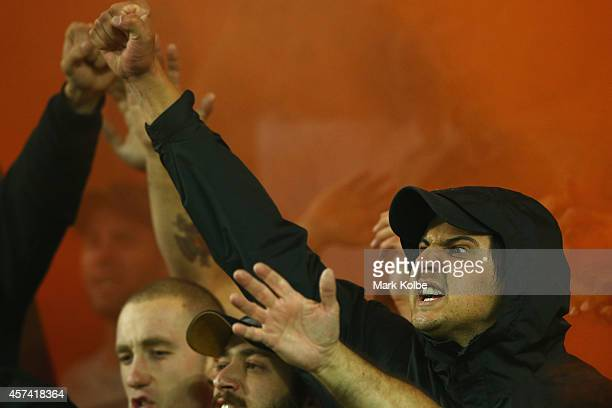 Wanderers supporters sing before kickoff during the round two ALeague match between Sydney FC and the Western Sydney Wanderers at Allianz Stadium on...