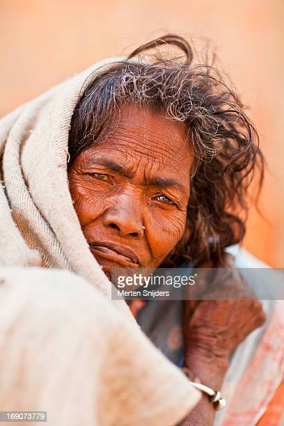 Wandering Indian woman in blanket