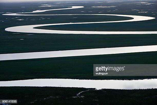 A wandering river,Bayinbuluke,Xinjiang