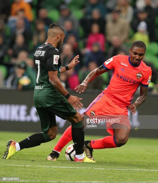 Wanderson of FC Krasnodar is challenged by Vitinho of FC CSKA Moscow during the Russian Premier League match between FC Krasnodar v FC CSKA Moscow at...