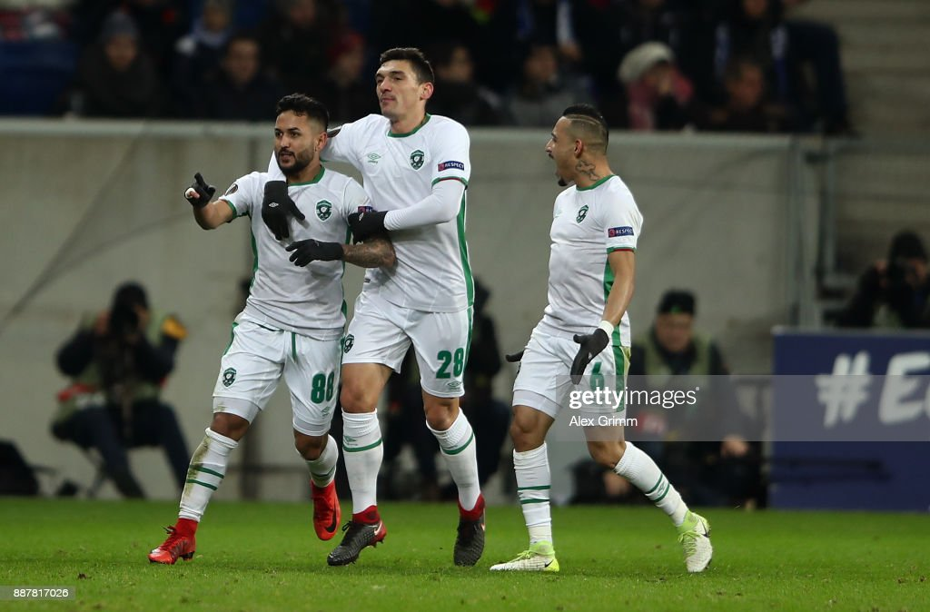 Wanderson of PFC Ludogorets Razgrad celebrates after scoring his team's first goal of the game during the UEFA Europa League group C match between 1899 Hoffenheim and PFC Ludogorets Razgrad at Wirsol Rhein-Neckar-Arena on December 7, 2017 in Sinsheim, Germany.