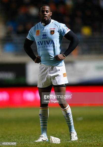 Wandile Mjekevu of Perpignan in action during the Top 14 match between Perpignan and ASM Clermont Auvergne at Stade Aime Giral on November 29 2013 in...