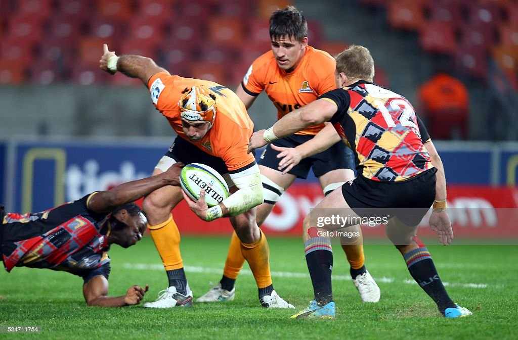 Wandile Mjekevu of the Southern Kings tackling Juan Manuel Leguizamon of the Jaguares during the Super Rugby match between Southern Kings and Jaguares at Nelson Mandela Bay Stadium on May 27, 2016 in Port Elizabeth, South Africa.