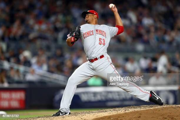 Wandy Peralta of the Cincinnati Reds pitches during the game against the New York Yankees at Yankee Stadium on Tuesday July 2017 in the Bronx borough...