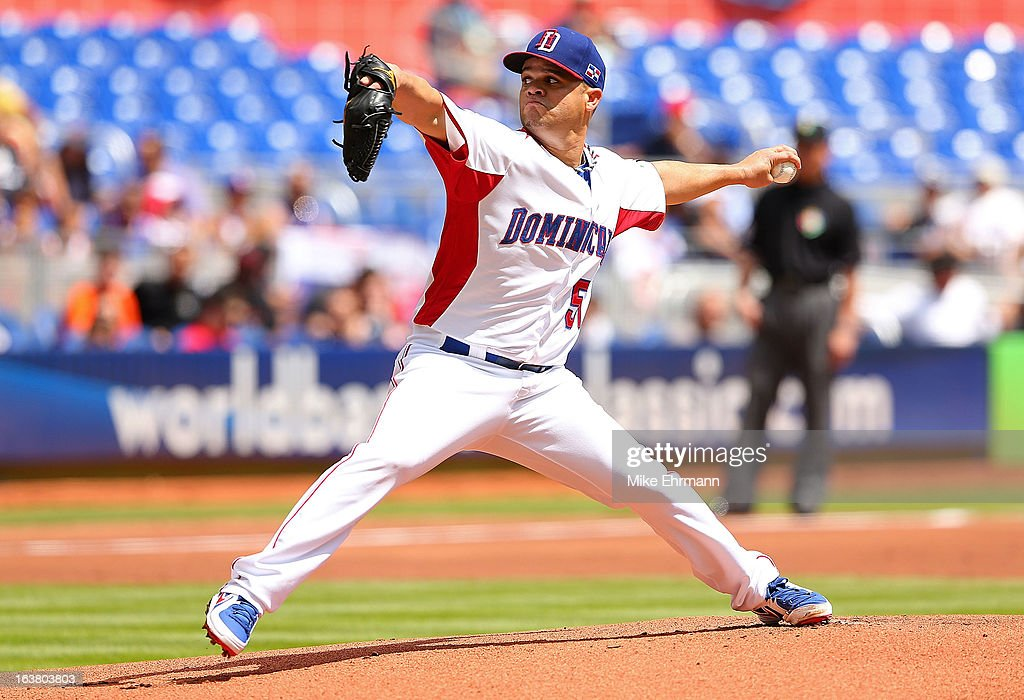 Wandy Rodriguez #51 of the Dominican Republic pitches during a World Baseball Classic second round game against Puerto Rico at Marlins Park on March 16, 2013 in Miami, Florida.