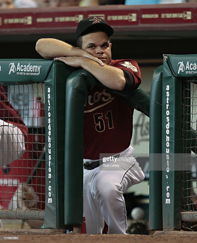 <a gi-track='captionPersonalityLinkClicked' href=/galleries/search?phrase=Wandy+Rodriguez&family=editorial&specificpeople=247781 ng-click='$event.stopPropagation()'>Wandy Rodriguez</a> #51 of the Houston Astros looks on from the dugout during a baseball game against the San Francisco Giants at Minute Maid Park on August 21, 2011 in Houston, Texas.