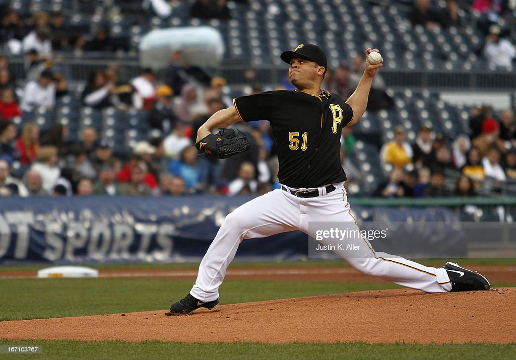 Wandy Rodriguez #51 of the Pittsburgh Pirates pitches against the Atlanta Braves on April 19, 2013 at PNC Park in Pittsburgh, Pennsylvania.