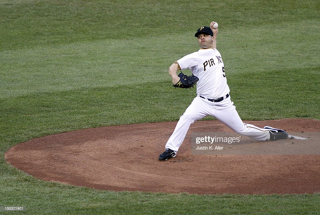<a gi-track='captionPersonalityLinkClicked' href=/galleries/search?phrase=Wandy+Rodriguez&family=editorial&specificpeople=247781 ng-click='$event.stopPropagation()'>Wandy Rodriguez</a> #51 of the Pittsburgh Pirates pitches against the Los Angeles Dodgers during the game on August 15, 2012 at PNC Park in Pittsburgh, Pennsylvania.