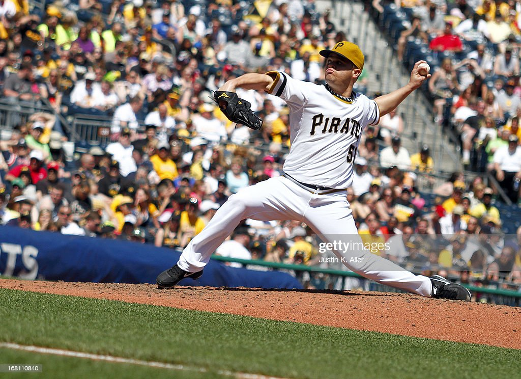 <a gi-track='captionPersonalityLinkClicked' href=/galleries/search?phrase=Wandy+Rodriguez&family=editorial&specificpeople=247781 ng-click='$event.stopPropagation()'>Wandy Rodriguez</a> #51 of the Pittsburgh Pirates pitches against the Washington Nationals during the game on May 5, 2013 at PNC Park in Pittsburgh, Pennsylvania.